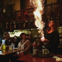 A picture of a flaming Spanish Coffee
